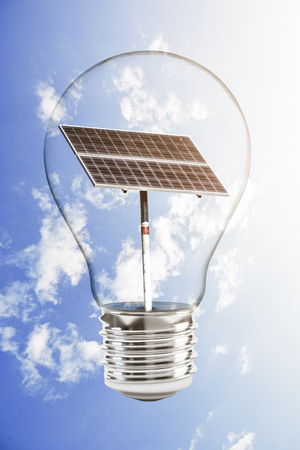 Solar panel in a light bulb