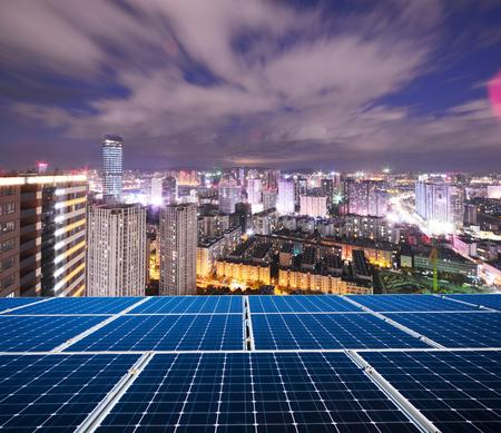 Solar panel in modern city