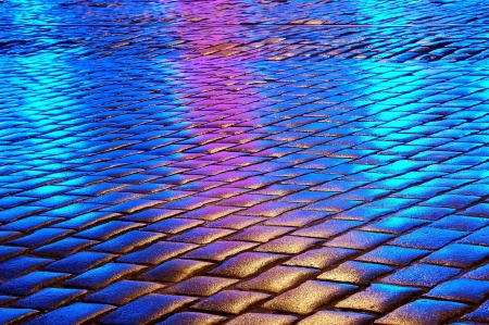 shiny cobblestone on the street photo