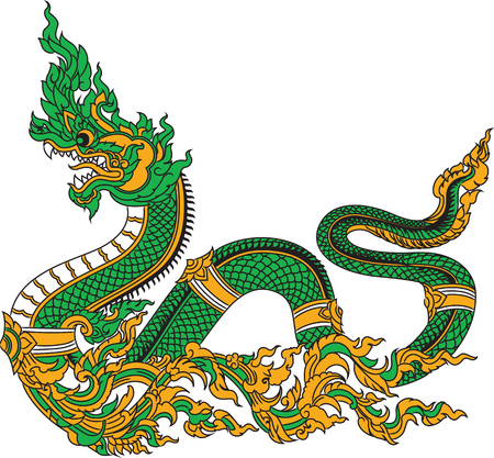 Mythical serpent illustration isolated in white background.