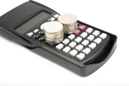 calculator with coins Banque d'images