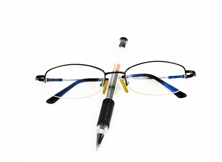 glasses with pen photo