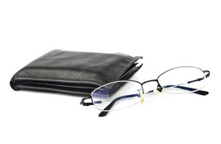 empty wallet: glasses with wallet together