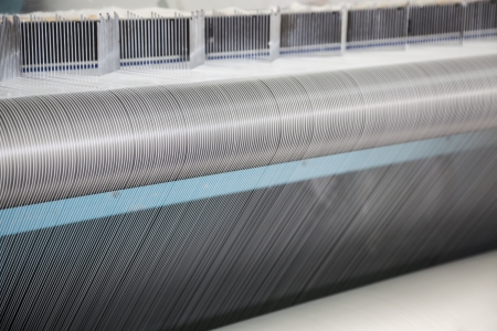 spinning factory: cotton threads in a spinning factory
