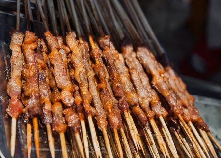 bamboo stick: Lamb shashlik on the bamboo stick