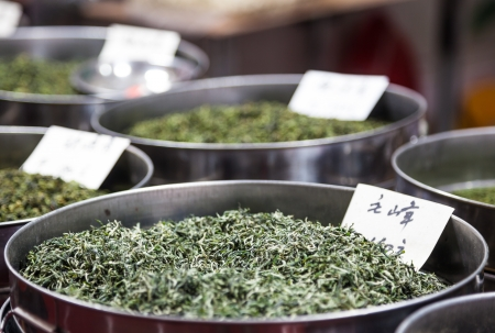 Chinese green tea in the market Stock Photo - 16261385