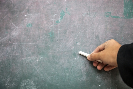 hand with chalk writing in the blackboard photo