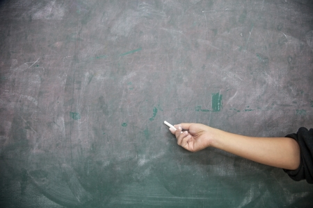 hand with chalk pointing to a blank blackboard photo