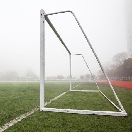 soccer gate in the soccer field photo