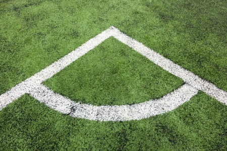 corner in the soccer field, white lines and green grass field Stock Photo - 16986521