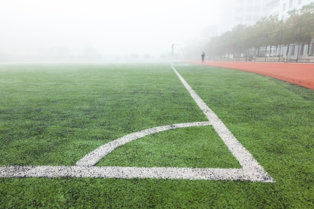 corner in the soccer field, white lines and green grass field Stock Photo - 17844300