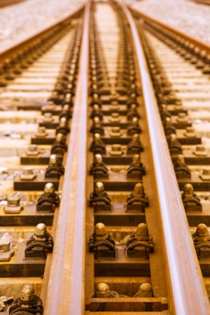 split rail: railroad metal track with track bed