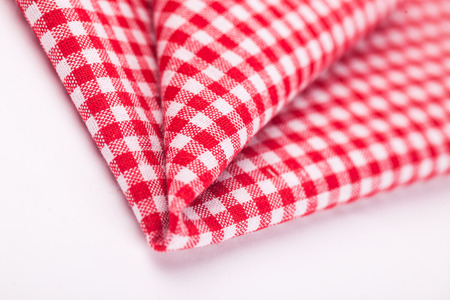 table cloth with red and white grid photo