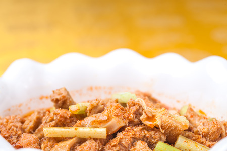 visceral: beef omasum with chili sauce, a popular chinese dish