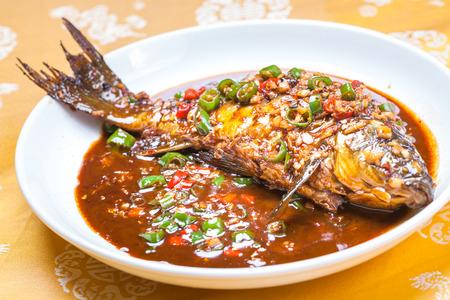 grass carp: braised carp with chili and garlic, a popular chinese dish