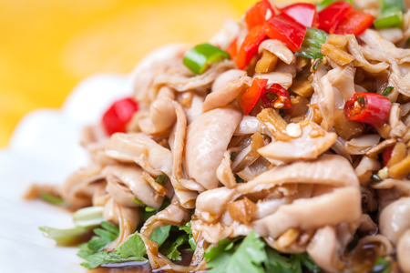 intestines: pig intestines stir fried with vegetables, chili peppers, a popular traditional chinese dish