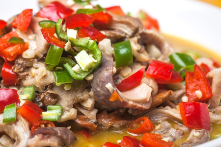 tripe: Pork Tripe stir fried with pepper and celery vegetable