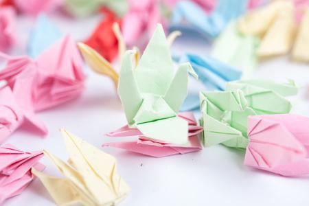 studio shot: paper crane on white background studio shot Stock Photo