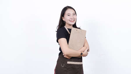 asian woman waiters writing order isolated white background