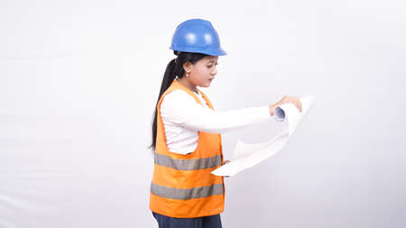asian worker woman see project holding with paper isolated white background
