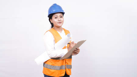 asian worker woman see project holding clipboard isolated white background