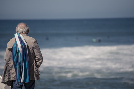oldie: old man checking waves @ hossegor beach