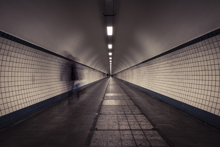 belgien: long exposure shot in tunnel @ antwerp Stock Photo
