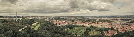 praga: Panorama shot of Prague from prague castle Stock Photo