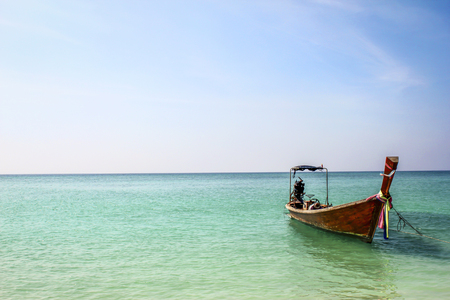 railey: longtailboat on the indian ocean in thailand