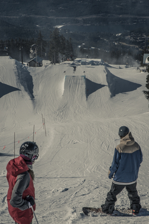 snowboarder is waiting for his turn