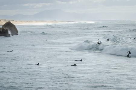atlantic ocean: surfers at lapiste, capbreton Stock Photo