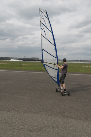 Wind skating on the airstrip of Tempelhofer airport in Berlin