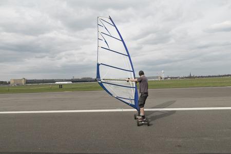 windskating on the airstrip of Tempelhofer airport in Berlin