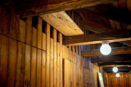 attic in old apartment building with storage room for tenants 版權商用圖片