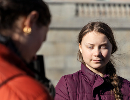 Stockholm, Sweden. 22 March, 2019. 16-year-old Swedish climate activist Greta Thunberg demonstrating in Stockholm on Fridays.