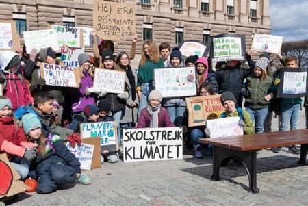 Stockholm, Sweden. 12 April, 2019. Climate activists joining 16-year-old Swedish Greta Thunberg for school strike against climate change. Stock fotó - 120916062