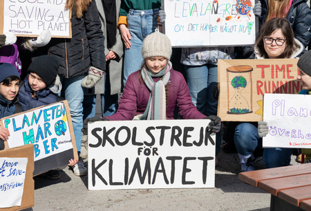 Stockholm, Sweden. 12 April, 2019. Climate activists joining 16-year-old Swedish Greta Thunberg for school strike against climate change.