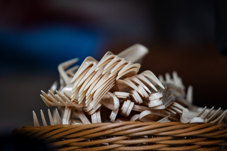 basket with knives, forks, and spoons for street food Reklamní fotografie