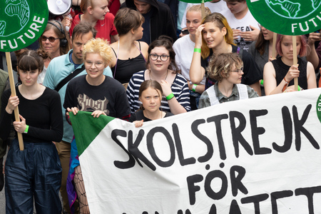 Stockholm, Sweden. 24 May, 2019. 16-year-old Swedish climate activist Greta Thunberg demonstrating in Stockholm on Fridays. Editorial