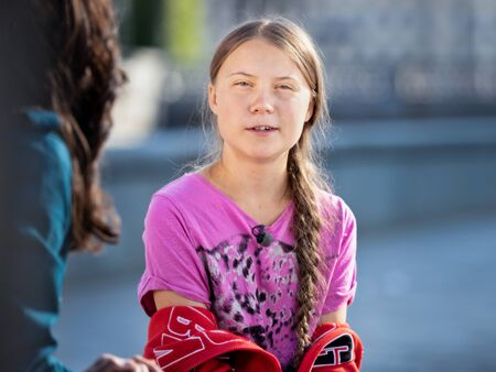 Stockholm, Sweden. 2 August, 2019. 16-year-old Swedish climate activist Greta Thunberg last demonstration in Stockholm on Fridays before going to the US. Being interviewed by CBS Editöryel