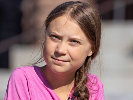 Stockholm, Sweden. 2 August, 2019. 16-year-old Swedish climate activist Greta Thunberg last demonstration in Stockholm on Fridays before going to the US.