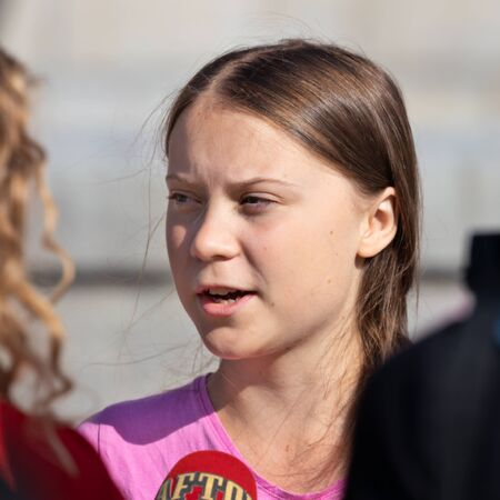 Stockholm, Sweden. 2 August, 2019. 16-year-old Swedish climate activist Greta Thunberg last demonstration in Stockholm on Fridays before going to the US. Being interviewed by Swedish Aftonbladet Editorial