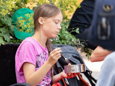 Stockholm, Sweden. 2 August, 2019. 16-year-old Swedish climate activist Greta Thunberg last demonstration in Stockholm on Fridays before going to the US. Final meal with fellow protesters Editöryel