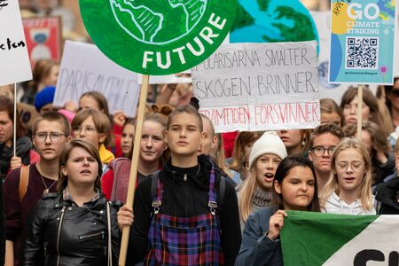 Stockholm, Sweden. 20 September, 2019. Swedish climate activists inspired by Greta Thunberg protest in Stockholm Editorial