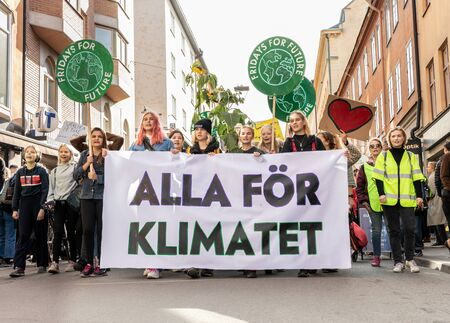 Stockholm, Sweden. 27 September, 2019. Swedish climate activists inspired by Greta Thunberg protest in Stockholm