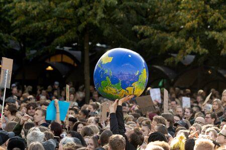 Stockholm, Sweden. 27 September, 2019. Swedish climate activists inspired by Greta Thunberg protest in Stockholm