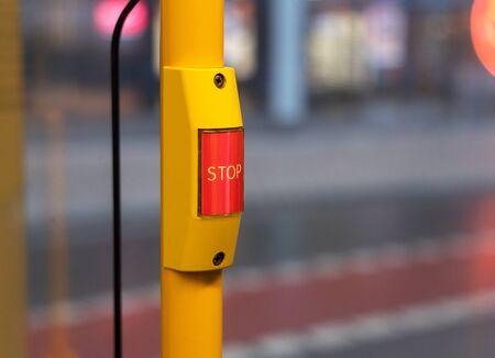 Stop button on city bus Stock fotó