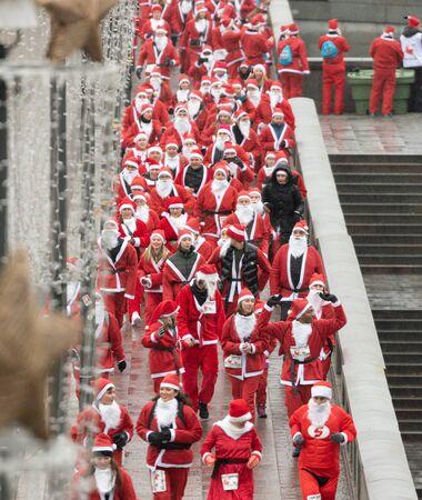 Stockholm, Sweden. 8th December, 2019. Stockholm Santa Run, a charity run for everyone