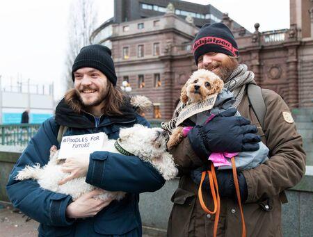 Stockholm, Sweden. 20 December, 2019. Swedish climate activists in Sweden demonstrating on Mynttotget in Stockholm on Fridays. With poodle dogs with signs sayning  #poodles for furure
