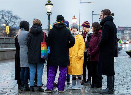 Stockholm, Sweden. 20 December, 2019. 16-year-old Swedish climate activist Greta Thunberg back in Sweden demonstrating on Mynttotget in Stockholm on Fridays. Reuniting with protester friends Sajtókép